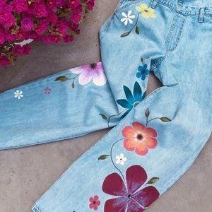 Overalls Flowers Handpainted OOAK ISO Levi's Jeans